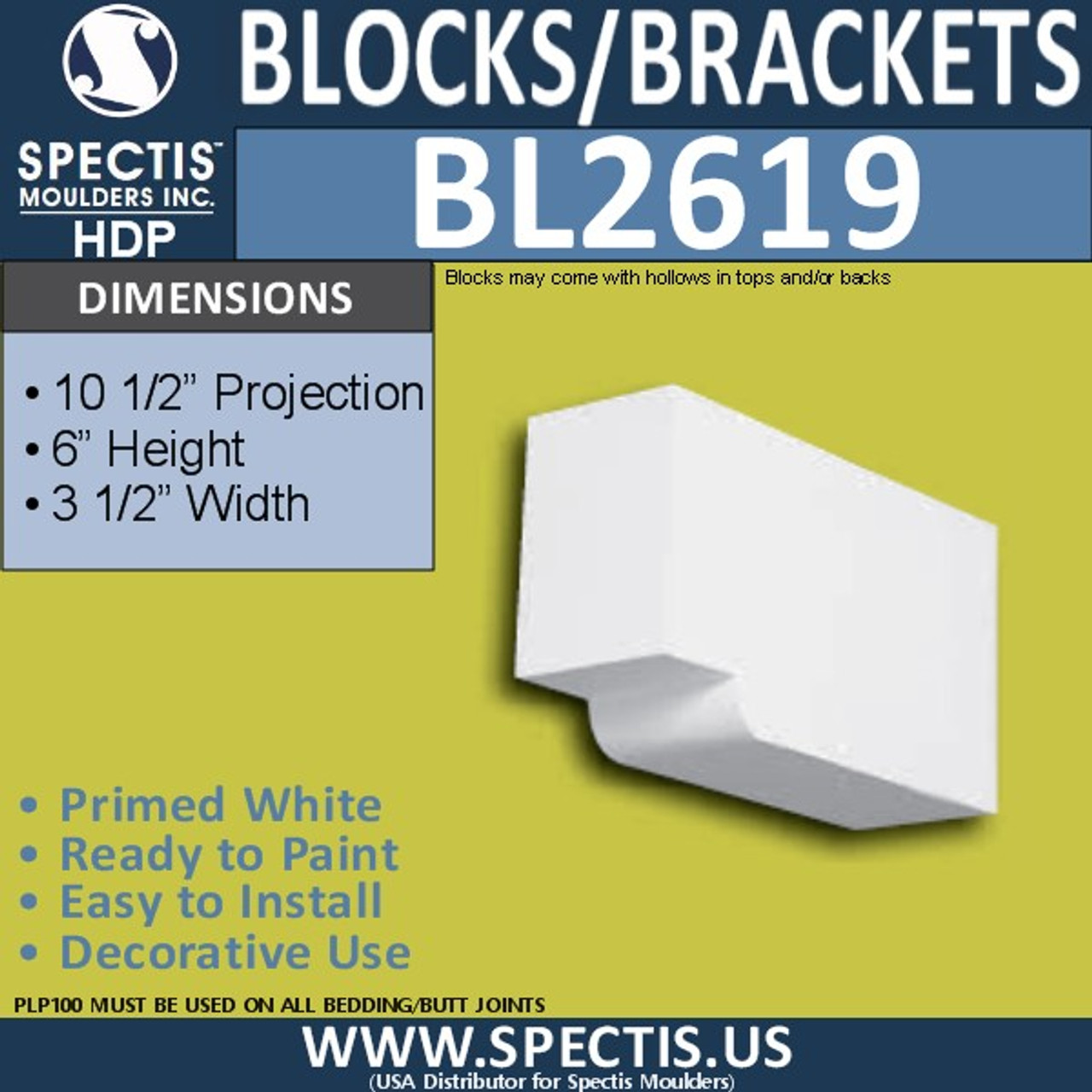 "BL2619 Eave Block or Bracket 3.5""W x 6""H x 10.5"" P"
