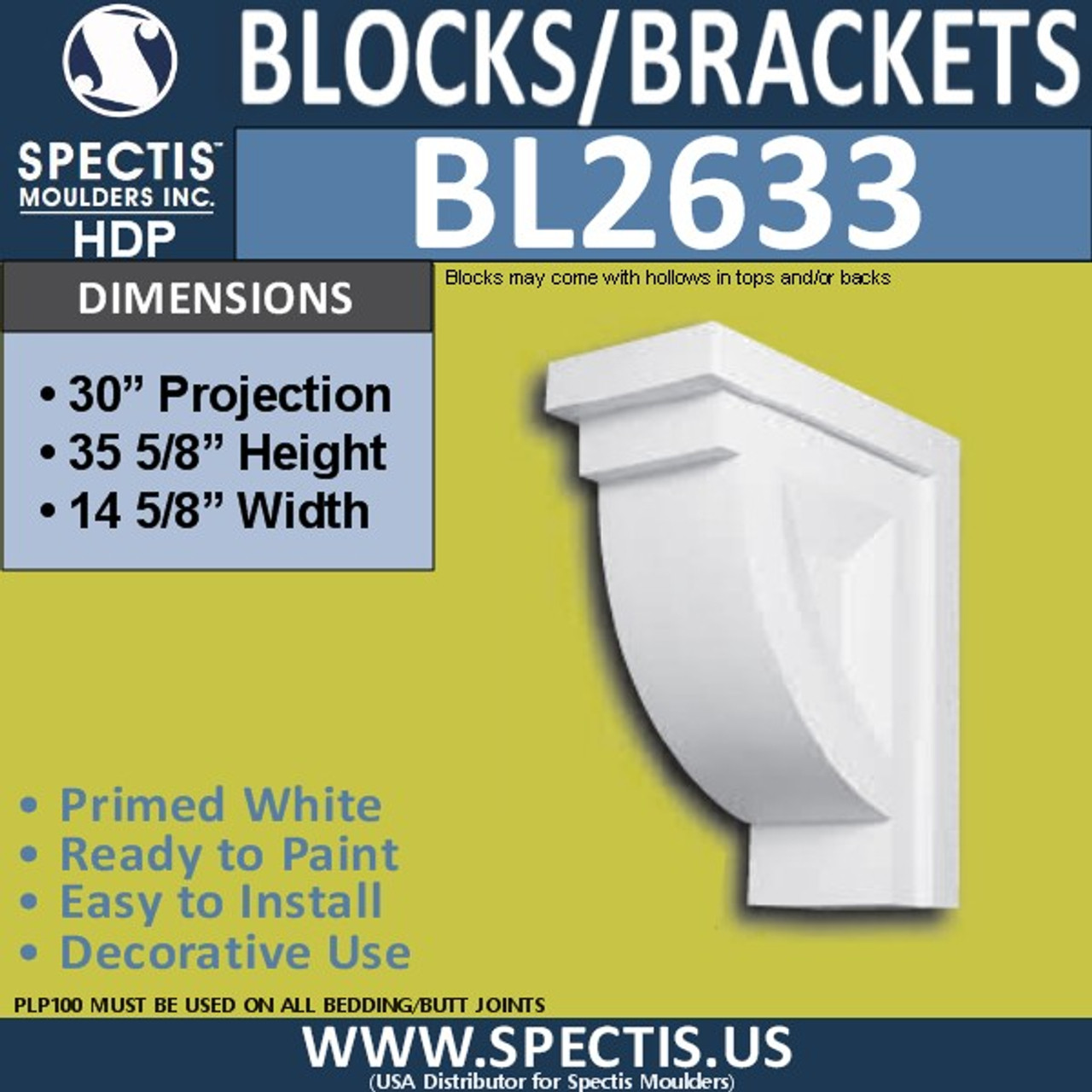 "BL2633 Eave Block or Bracket 14.625""W x 35.6""H x 30"" P"