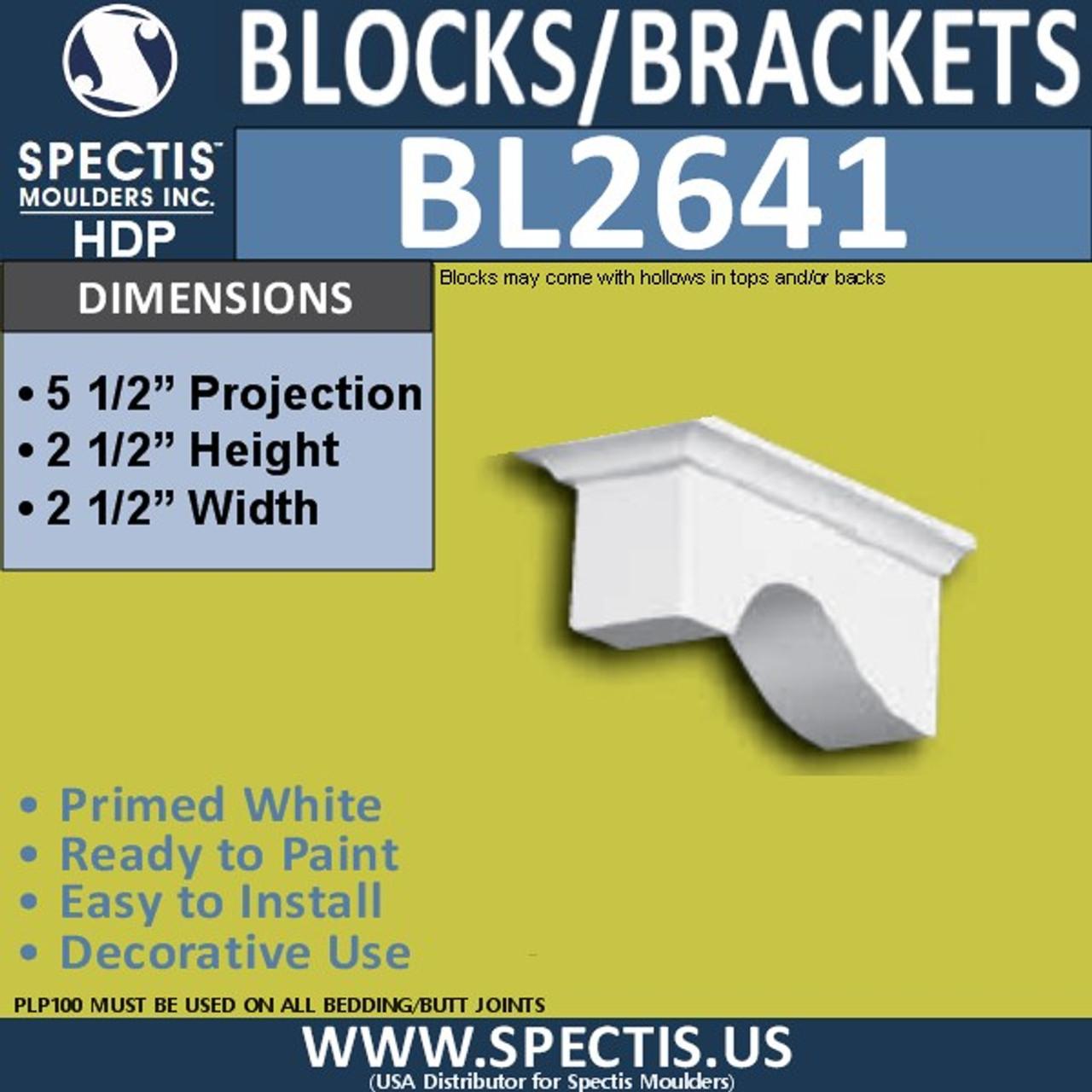 "BL2641 Eave Block or Bracket 2.5""W x 2.5""H x 5.5"" P"