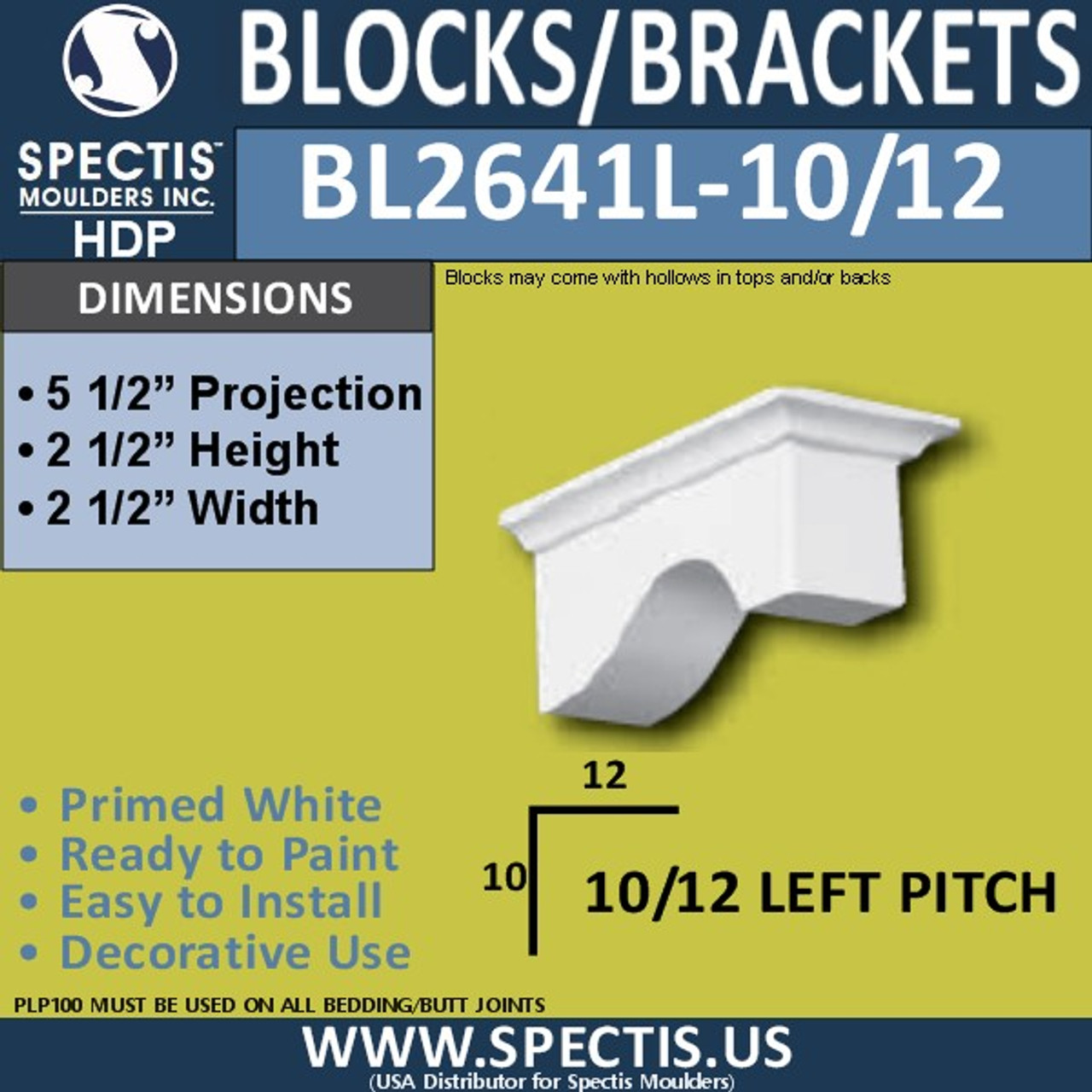 """BL2641L-10/12 Pitch Eave Bracket 2.5""""W x 2.5""""H x 5.5"""" P"""