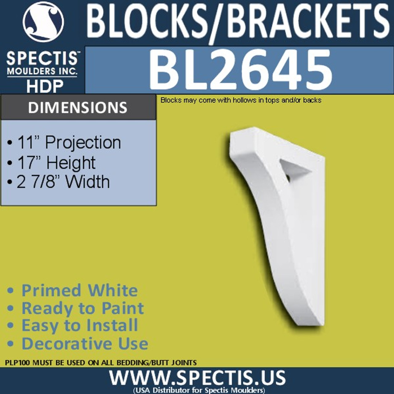 "BL2645 Eave Block or Bracket 2.9""W x 17""H x 11"" P"