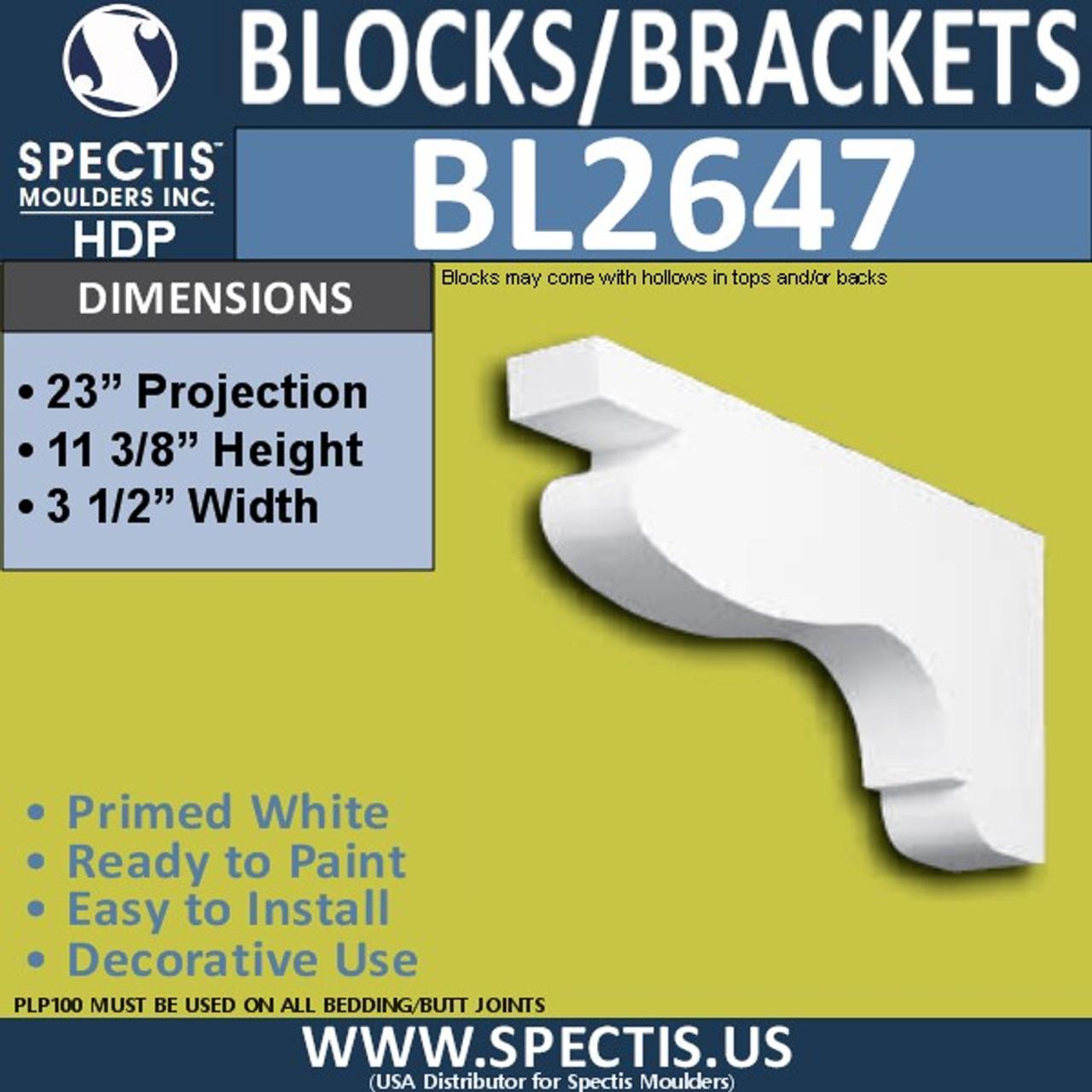 "BL2647 Eave Block or Bracket 3.5""W x 11.4""H x 23"" P"