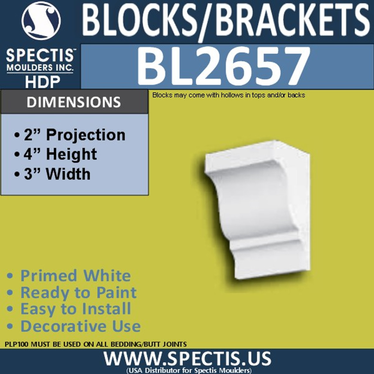 "BL2657 Eave Block or Bracket 3""W x 4""H x 2"" P"