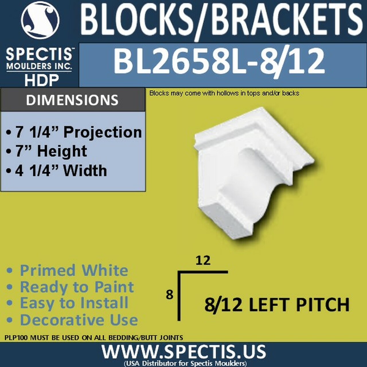 """BL2658L-8/12 Pitch Eave Bracket 4.25""""W x 7""""H x 7.25"""" P"""