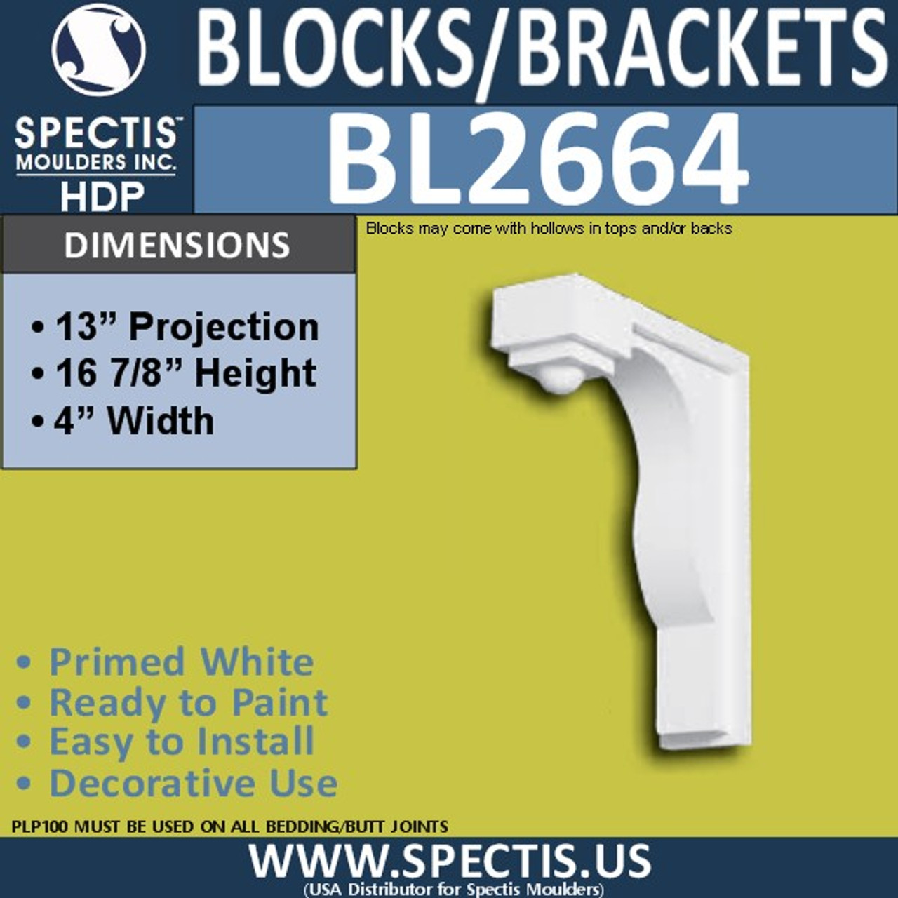 "BL2664 Eave Block or Bracket 4""W x 16.9""H x 13"" P"