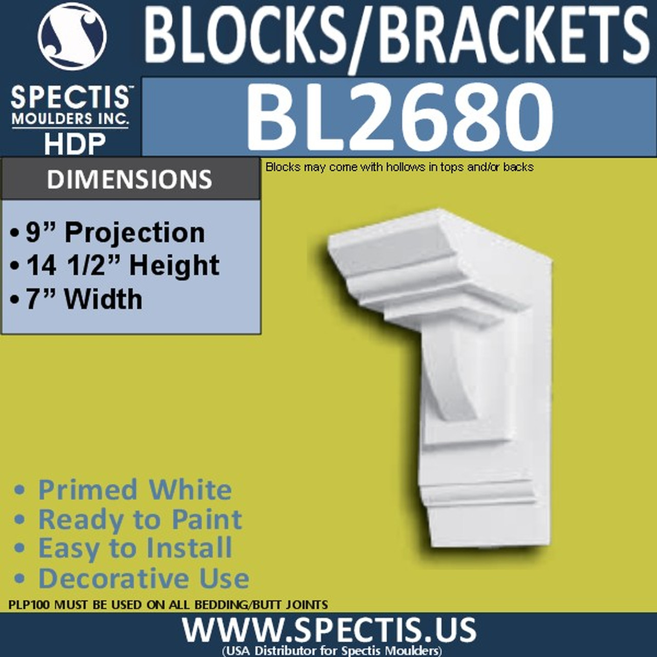 "BL2679 Eave Block or Bracket 8.1""W x 14.9""H x 7.9"" P"
