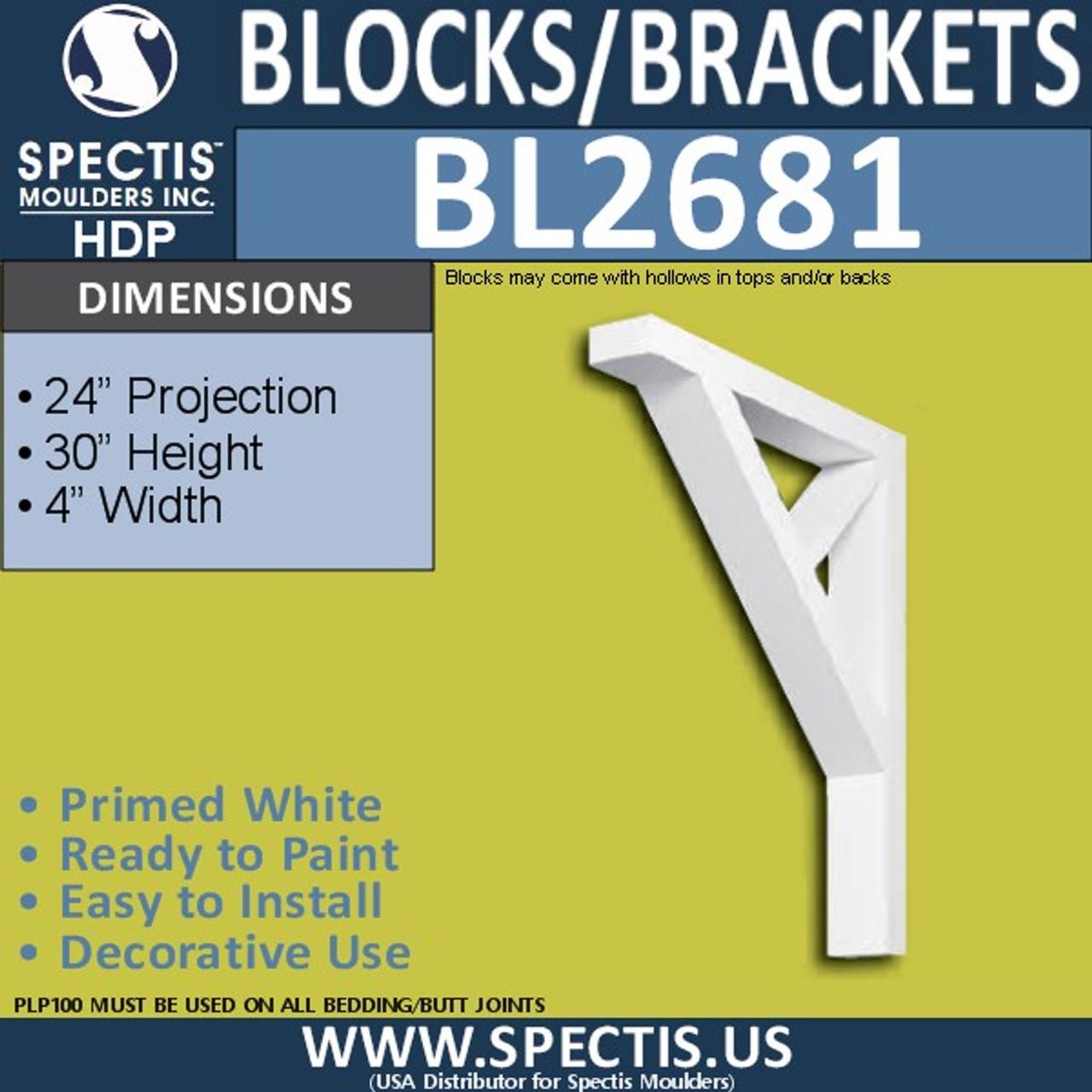 "BL2681 Eave Block or Bracket 4""W x 30""H x 24"" P"
