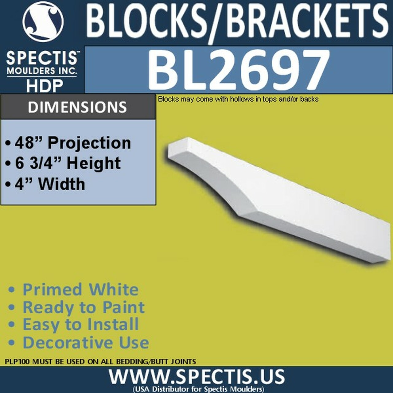 "BL2697 Eave Block or Bracket 4""W x 6.75""H x 48"" P"