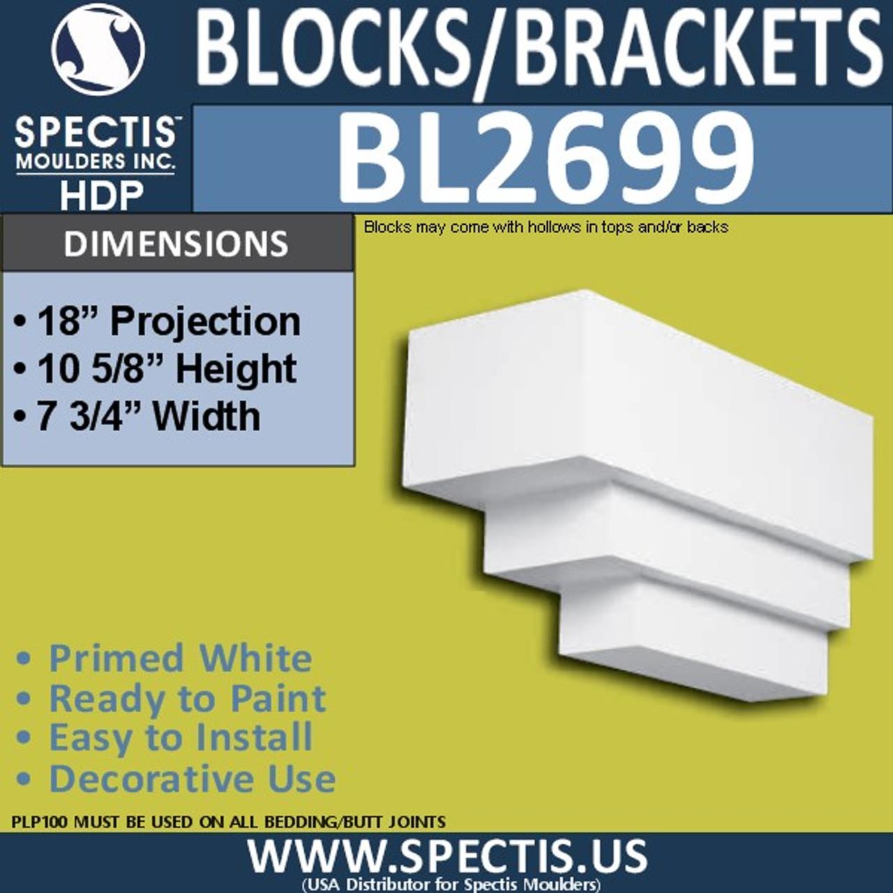 "BL2699 Eave Block or Bracket 7.75""W x 10.5""H x 18"" P"