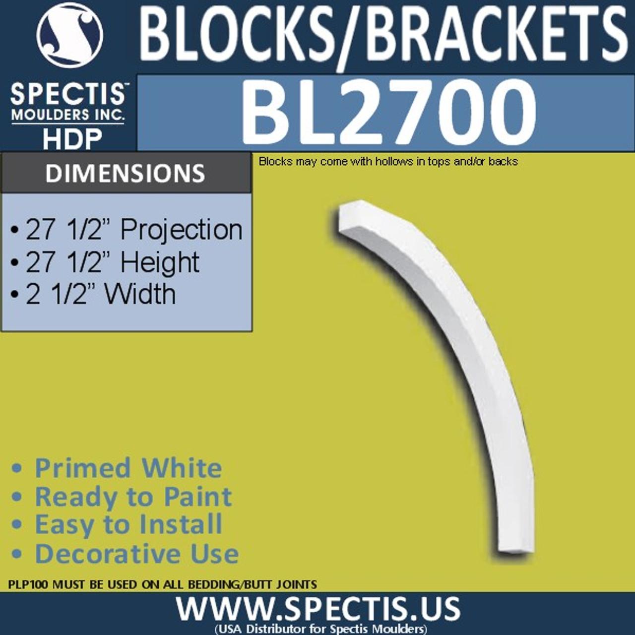 "BL2700 Eave Block or Bracket 2.5""W x 27.5""H x 27.5"" P"