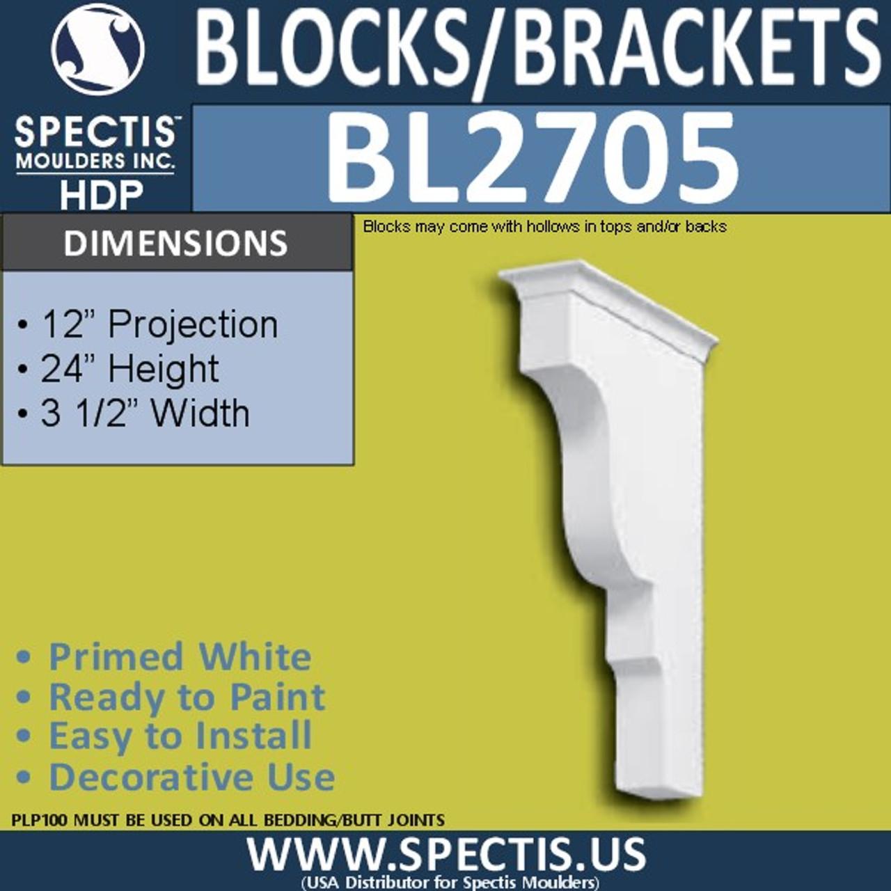 "BL2705 Eave Block or Bracket 6""W x 4""H x 4"" P"