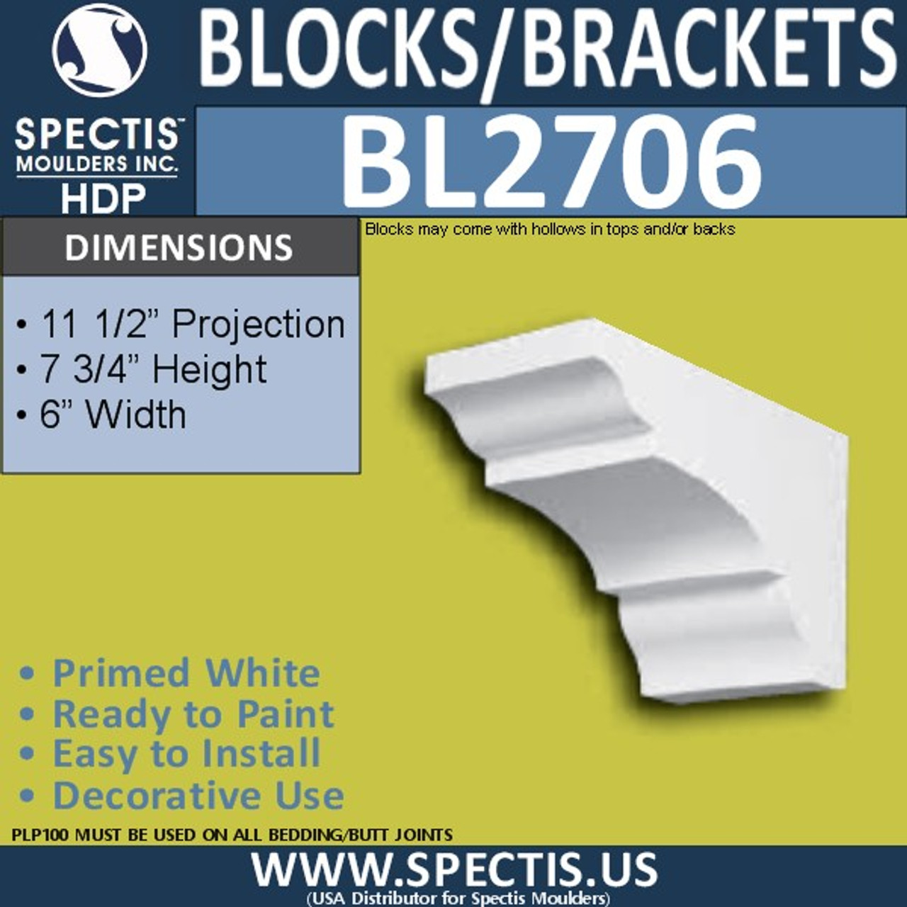 "BL2706 Eave Block or Bracket 6""W x 4""H x 4"" P"