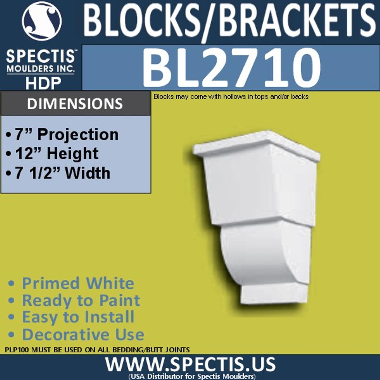 "BL2710 Eave Block or Bracket 7.5""W x 12""H x 7"" P"