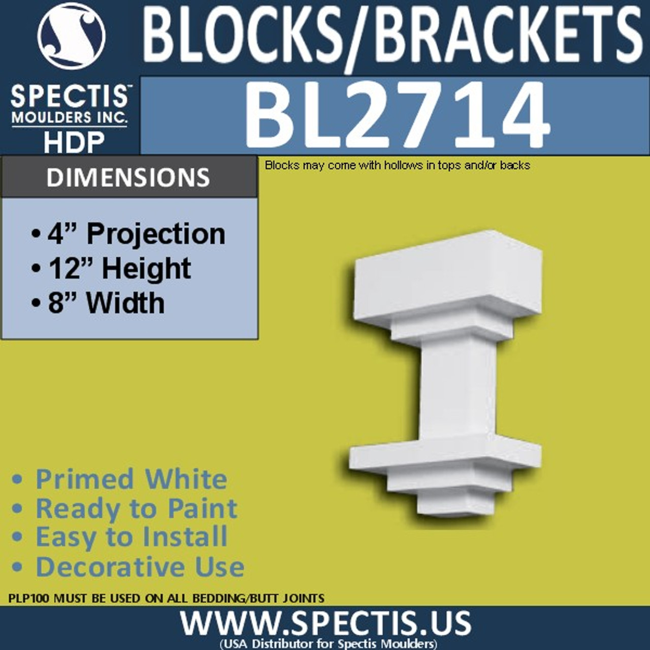 "BL2714 Eave Block or Bracket 8""W x 12""H x 4"" P"