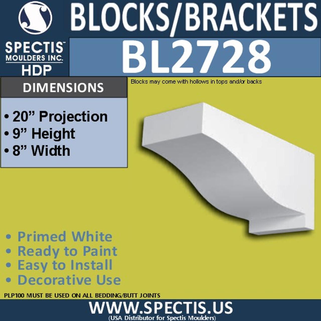 "BL2728 Eave Block or Bracket 8""W x 9""H x 20"" P"