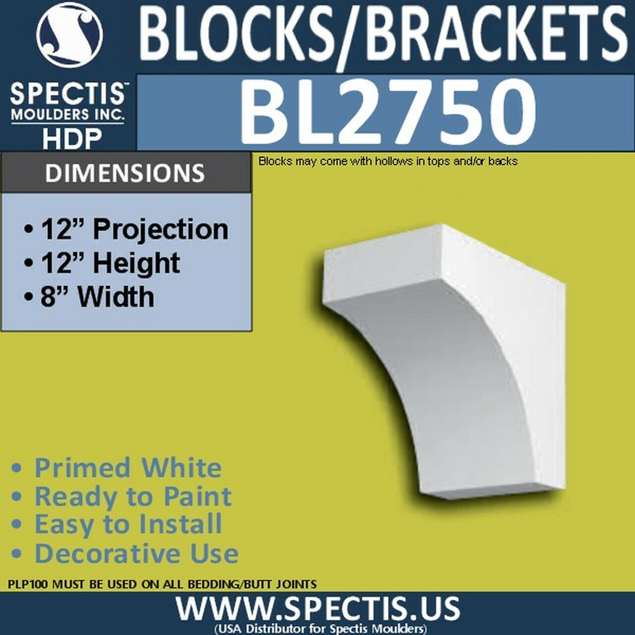 "BL2750 Eave Block or Bracket 8""W x 12""H x 12"" P"
