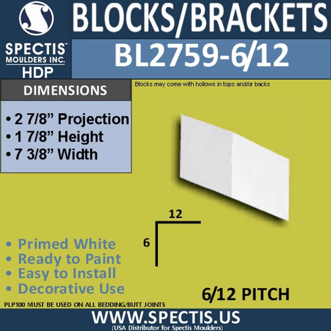 "BL2759-6/12 Pitch Eave Bracket 2""W x 2""H x 3"" P"