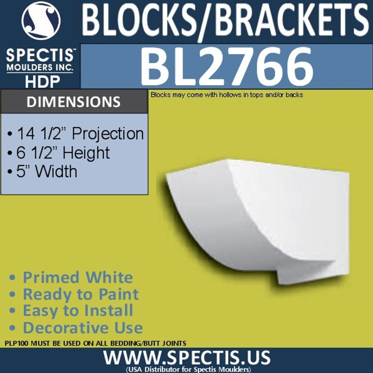 "BL2766 Eave Block or Bracket 5""W x 6.5""H x 14.5"" P"