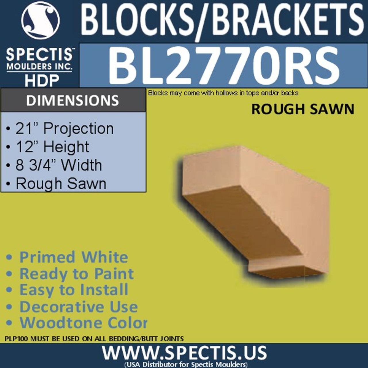 """BL2770RS Eave Block or Bracket 8.75""""W x 12""""H x 21"""" P"""