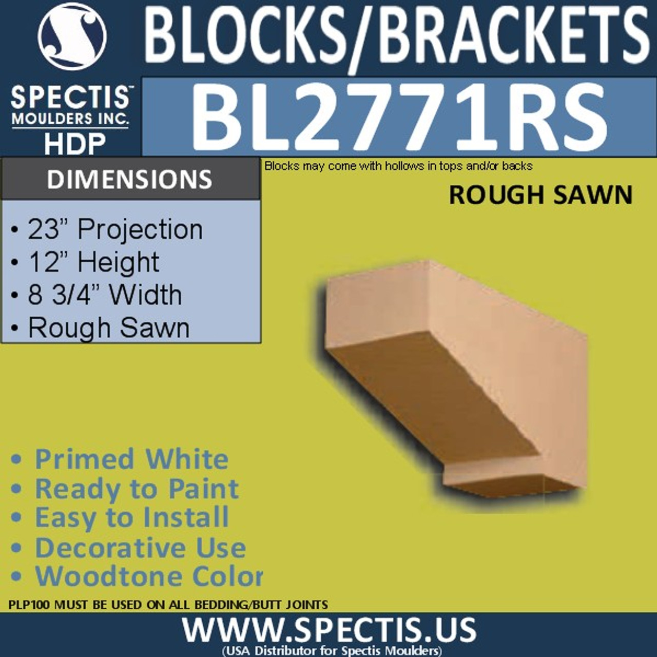 """BL2771RS Eave Block or Bracket 8.75""""W x 12""""H x 21"""" P"""