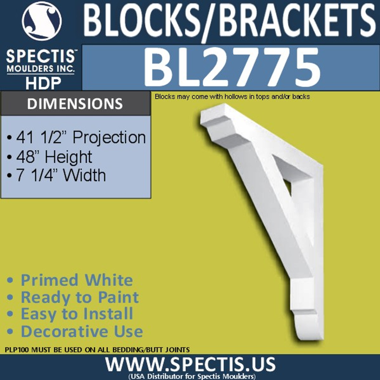 "BL2775 Eave Block or Bracket 7.5""W x 48""H x 41.5"" P"