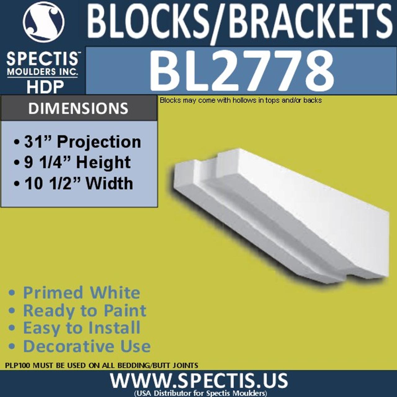 "BL2778 Eave Block or Bracket 10.5""W x 9.25""H x 31"" P"