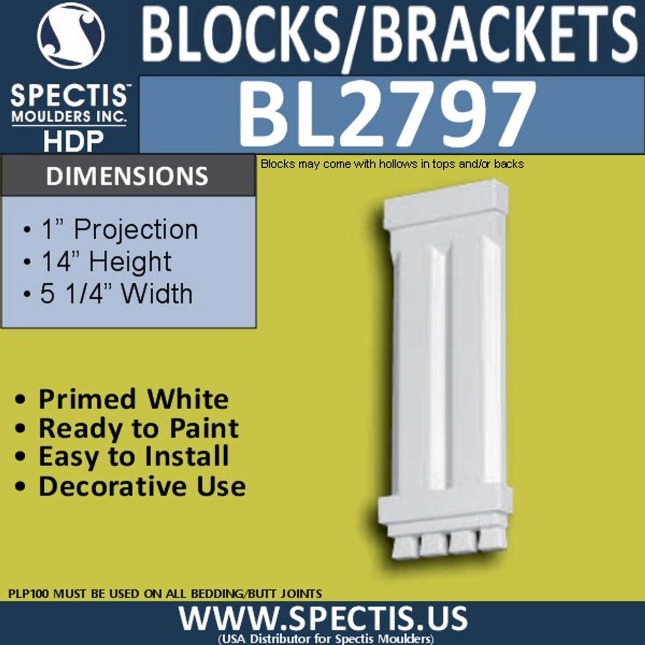 "BL2797 Eave Block or Bracket 5.25""W x 14""H x 1"" P"