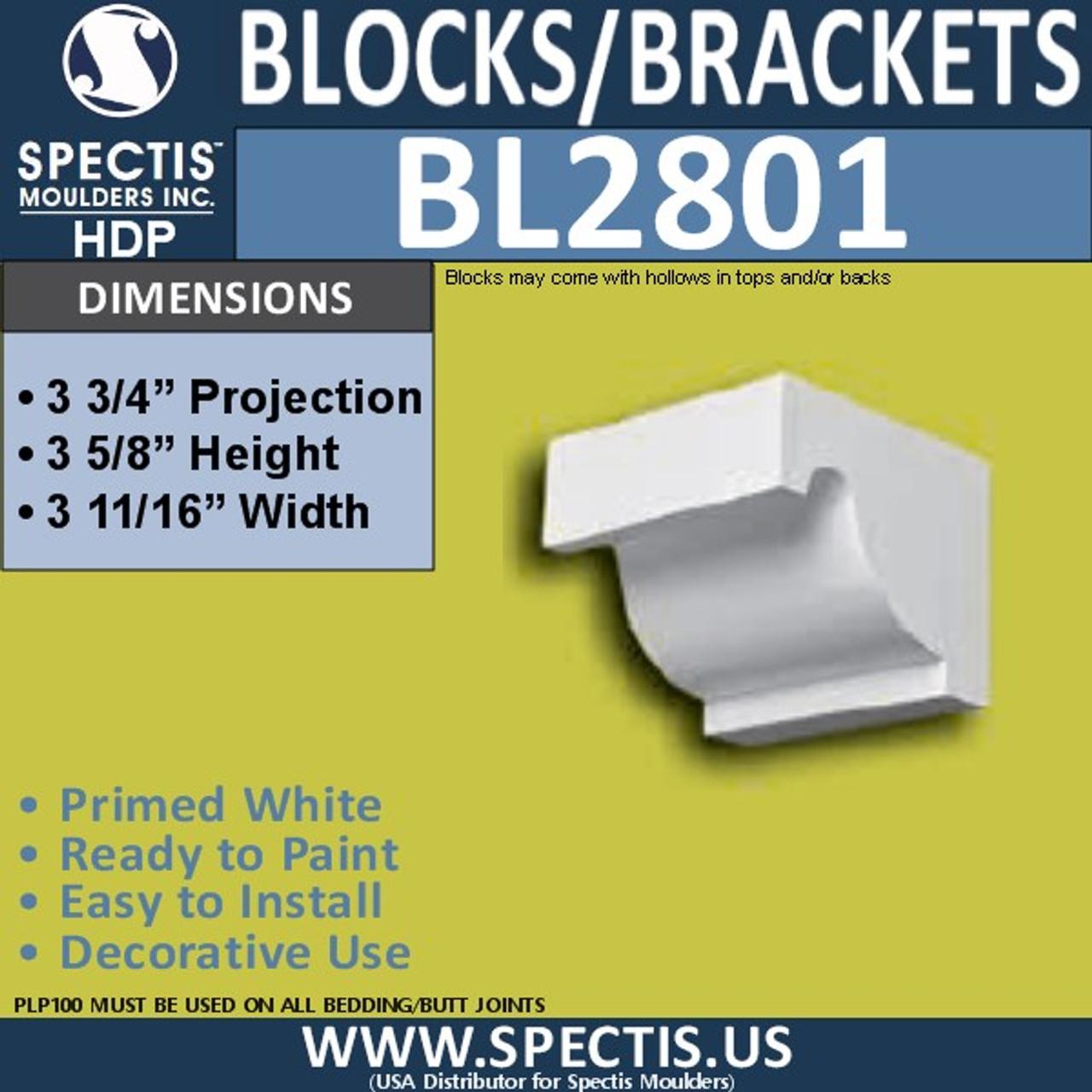 "BL2801 Eave Block or Bracket 3.75""W x 3.5""H x 3.75"" P"