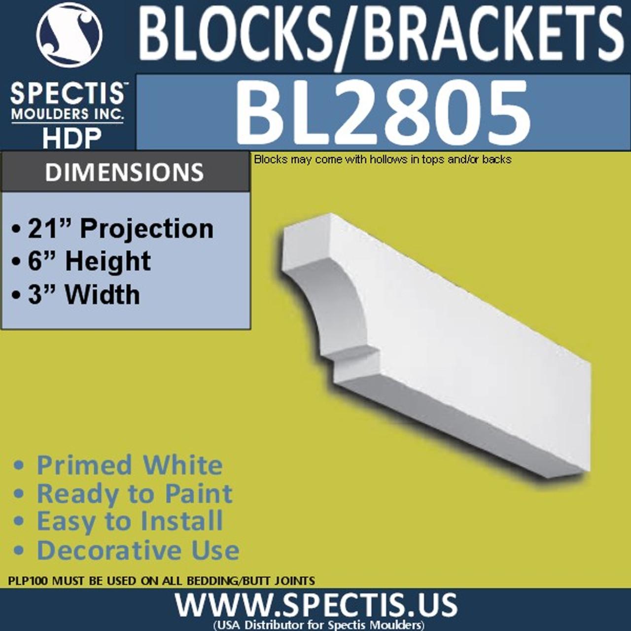 "BL2805 Eave Block or Bracket 3""W x 6""H x 21"" P"