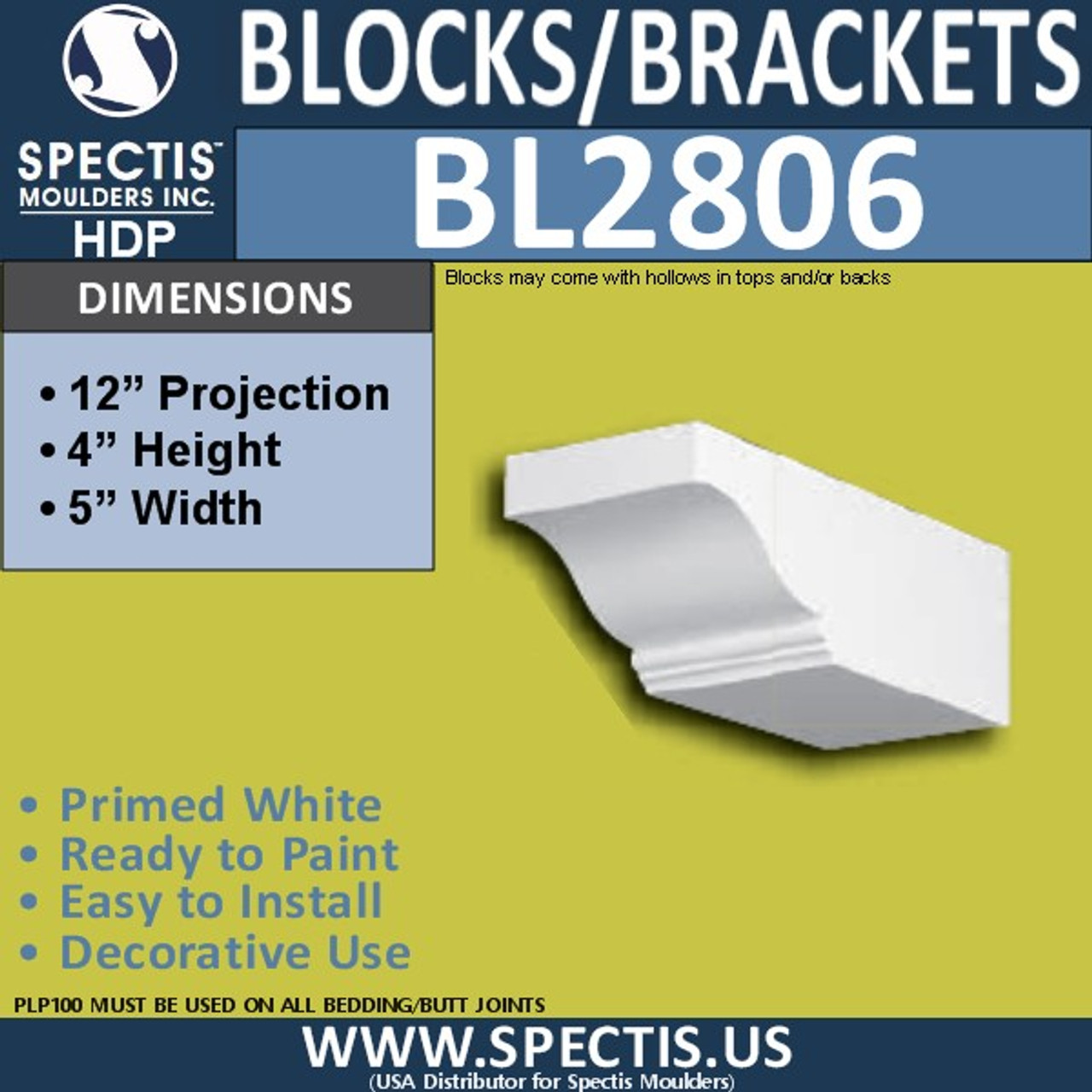 "BL2806 Eave Block or Bracket 5""W x 4""H x 12"" P"