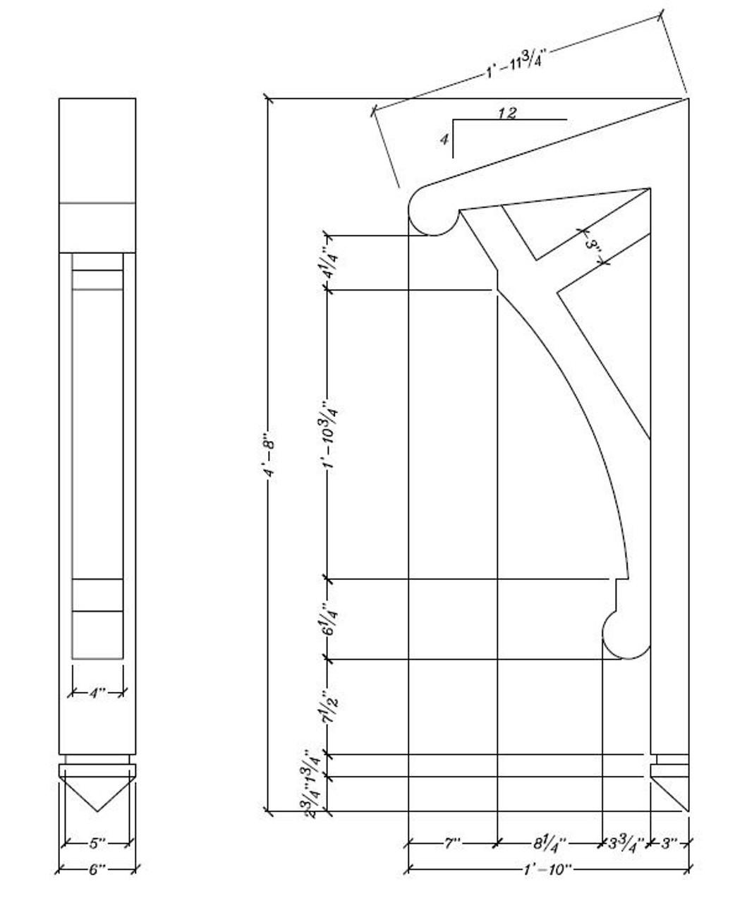"BL2811 Corbel Block or Eave Bracket 6""W x 56""H x 22"" P"
