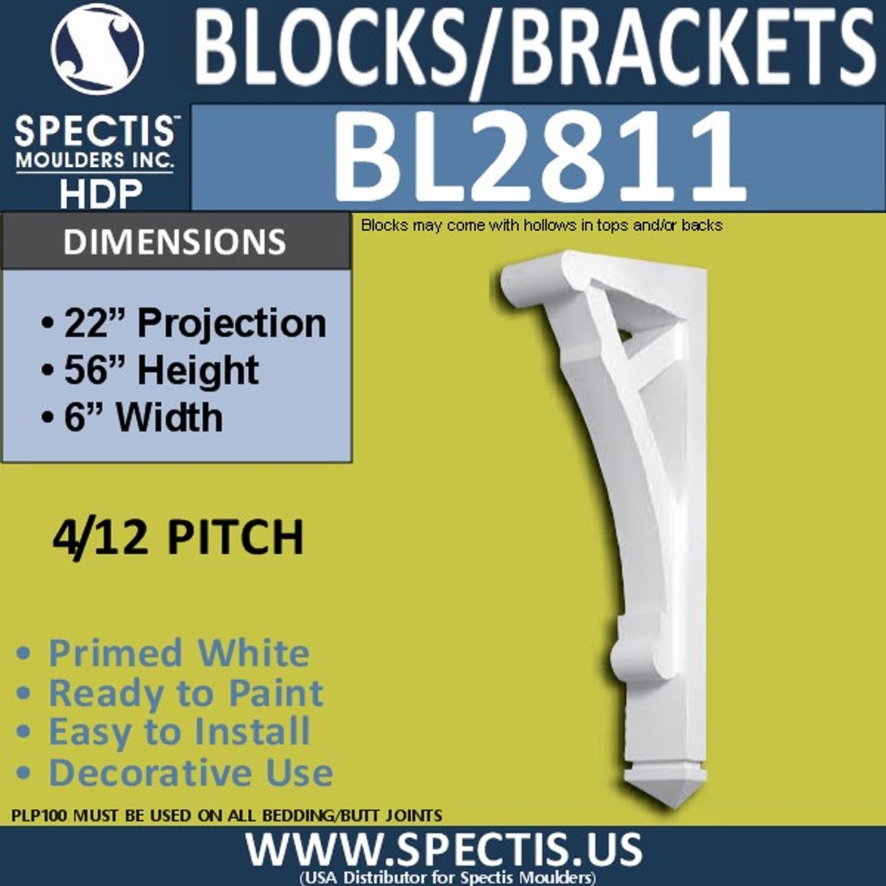 "BL2811 Eave Block or Bracket 6""W x 56""H x 22"" P"