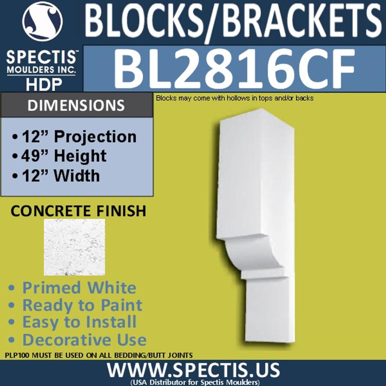 """BL2816CF Concrete Finish Bracket 12""""W x 49""""H x 12"""" P"""