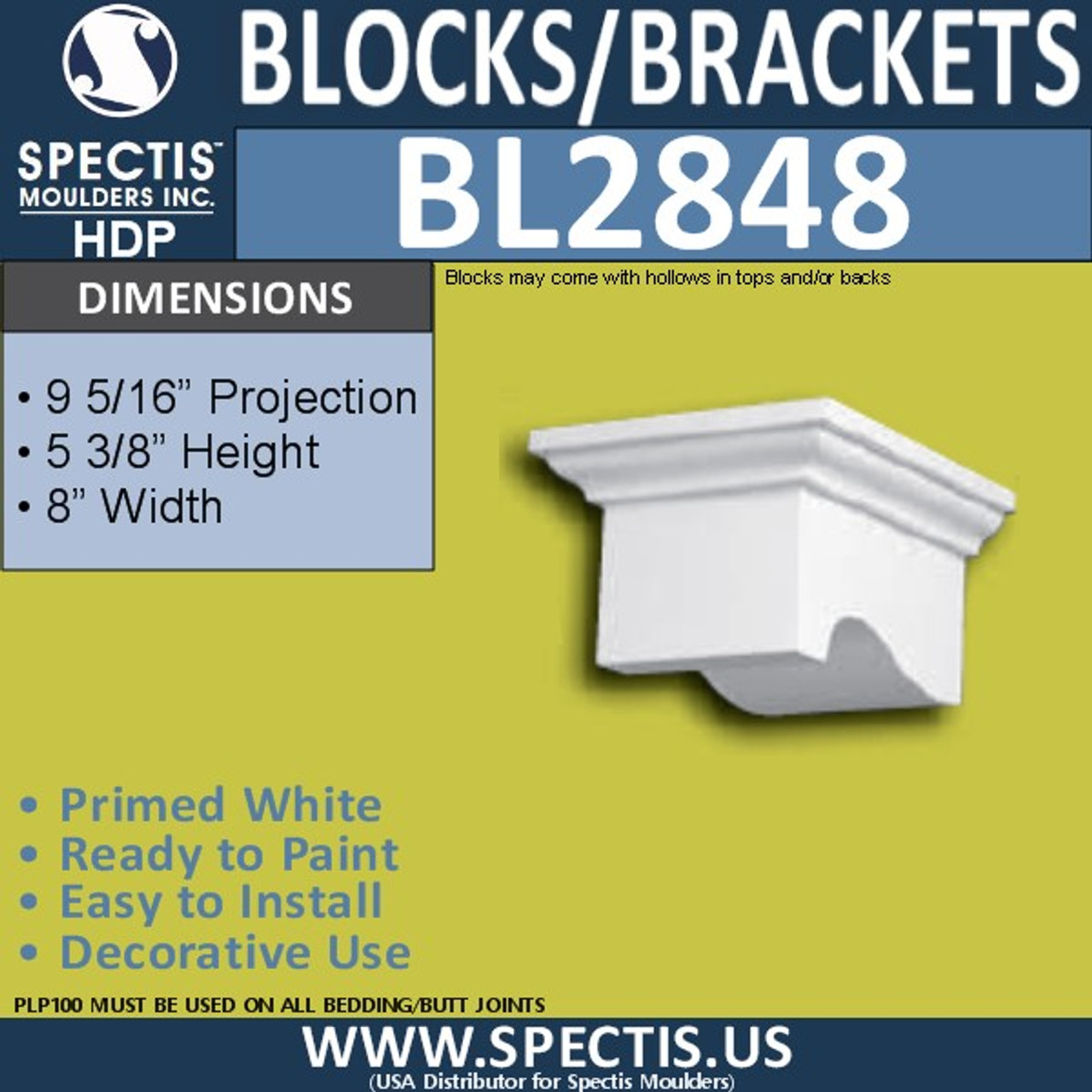 "BL2848 Eave Block or Bracket 8""W x 5.3""H x 9.5"" P"