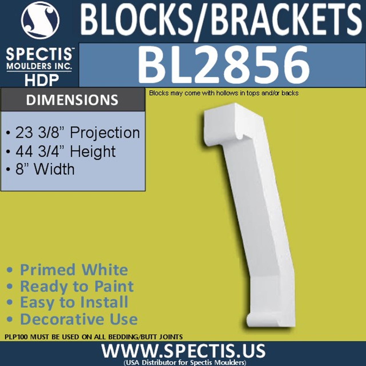 "BL2856 Eave Block or Bracket 8""W x 44.75""H x 23.5"" P"