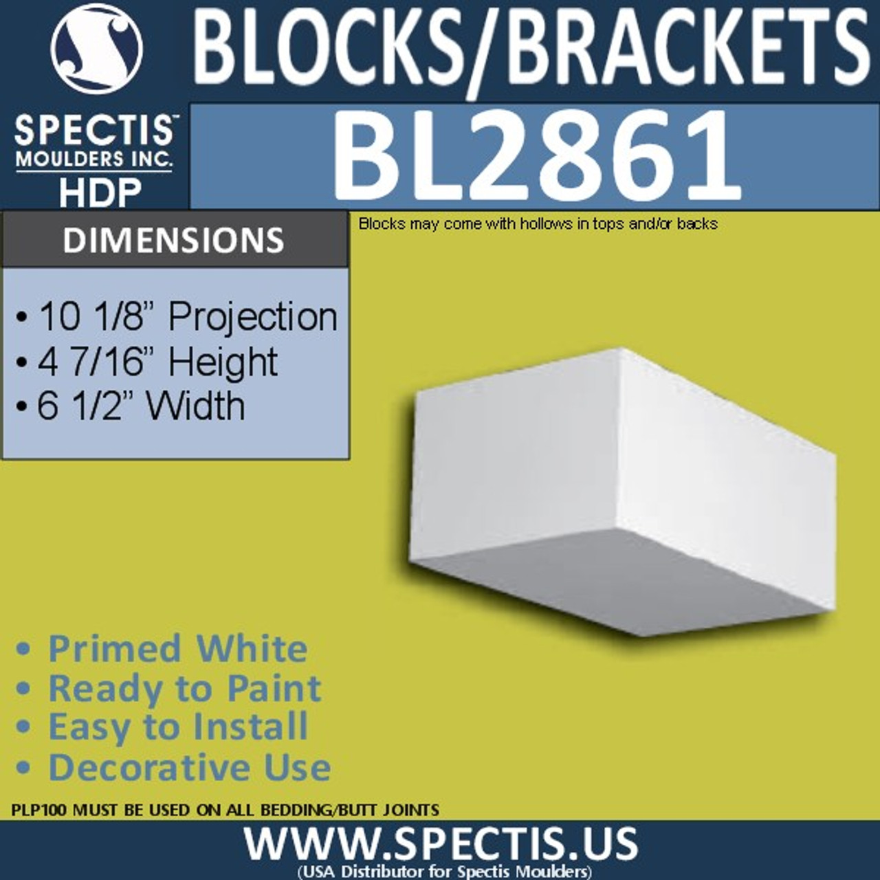 "BL2861 Eave Block or Bracket 6.5""W x 4.5""H x 10.2"" P"