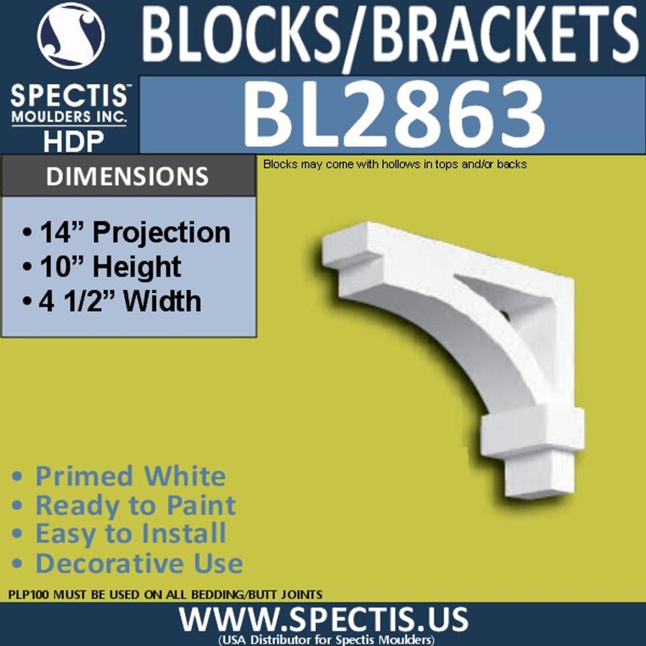 "BL2863 Eave Block or Bracket 4.5""W x 10""H x 14"" P"