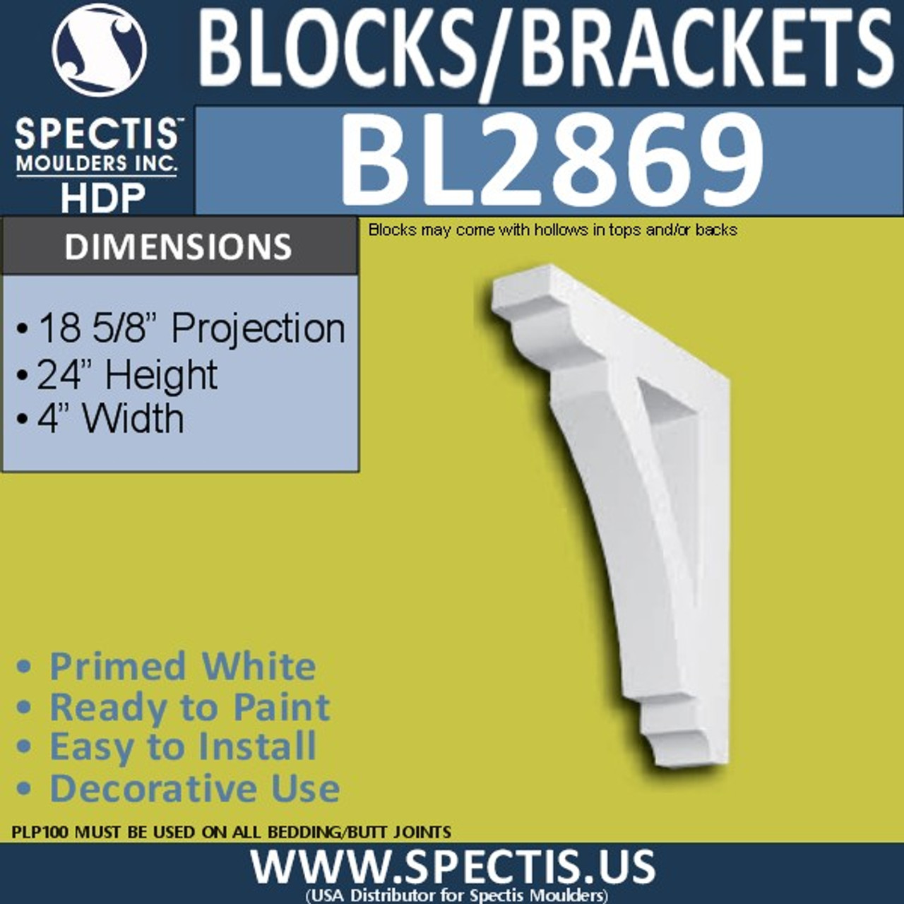 "BL2869 Eave Block or Bracket 4""W x 24""H x 18.5"" P"