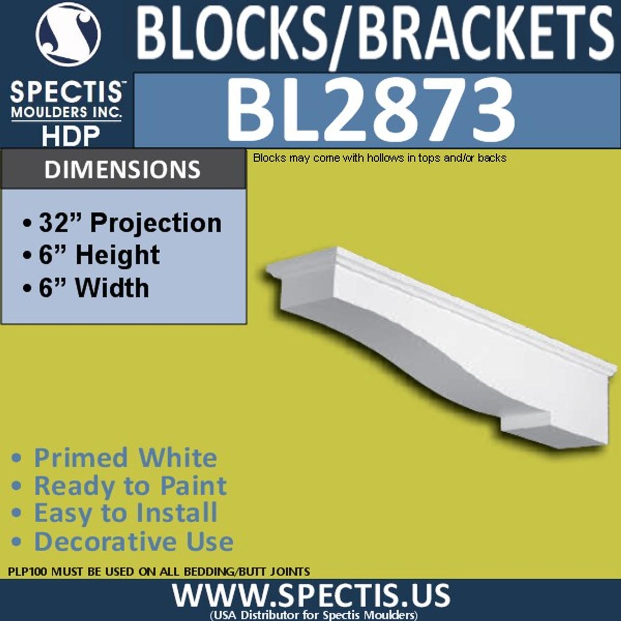 "BL2873 Eave Block or Bracket 6""W x 6""H x 32"" P"