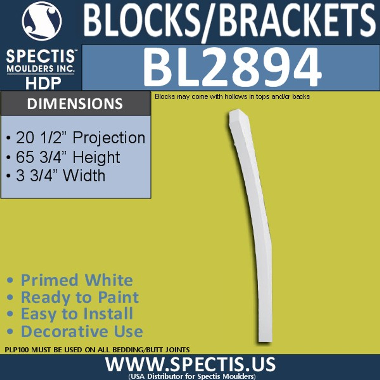 "BL2894 Eave Block or Bracket 3.75""W x 65.75""H x 20.5"" P"
