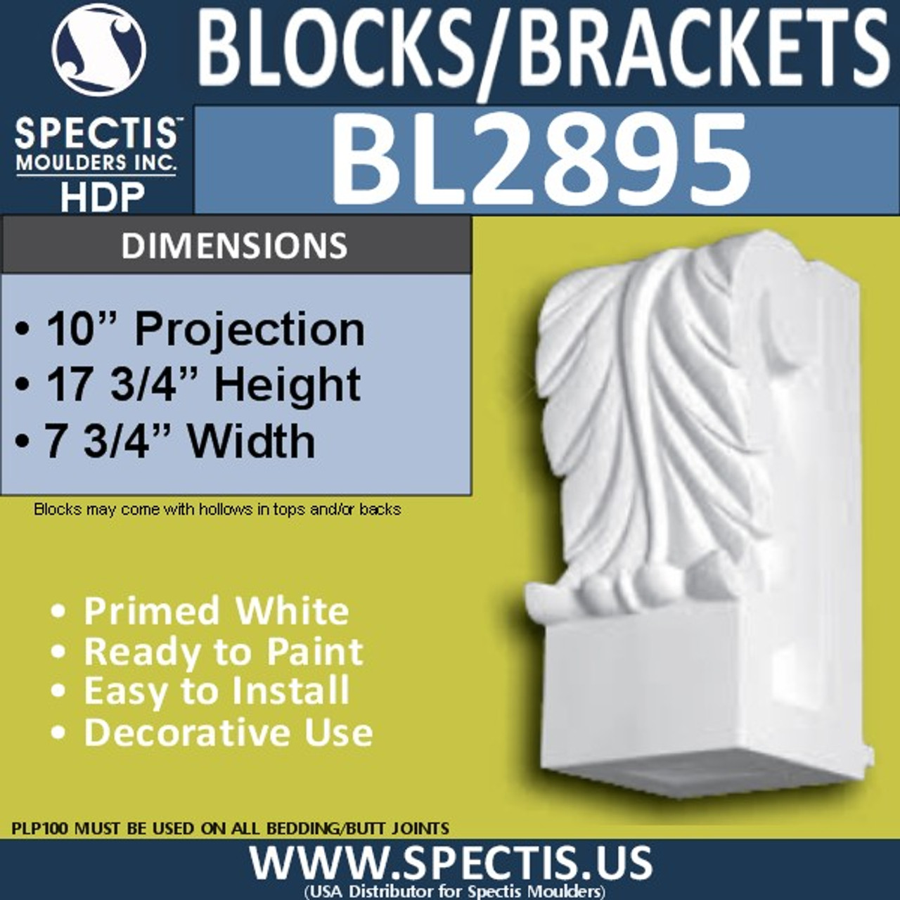 "BL2895 Eave Block or Bracket 7.6""W x 9.75""H x 17.75"" P"