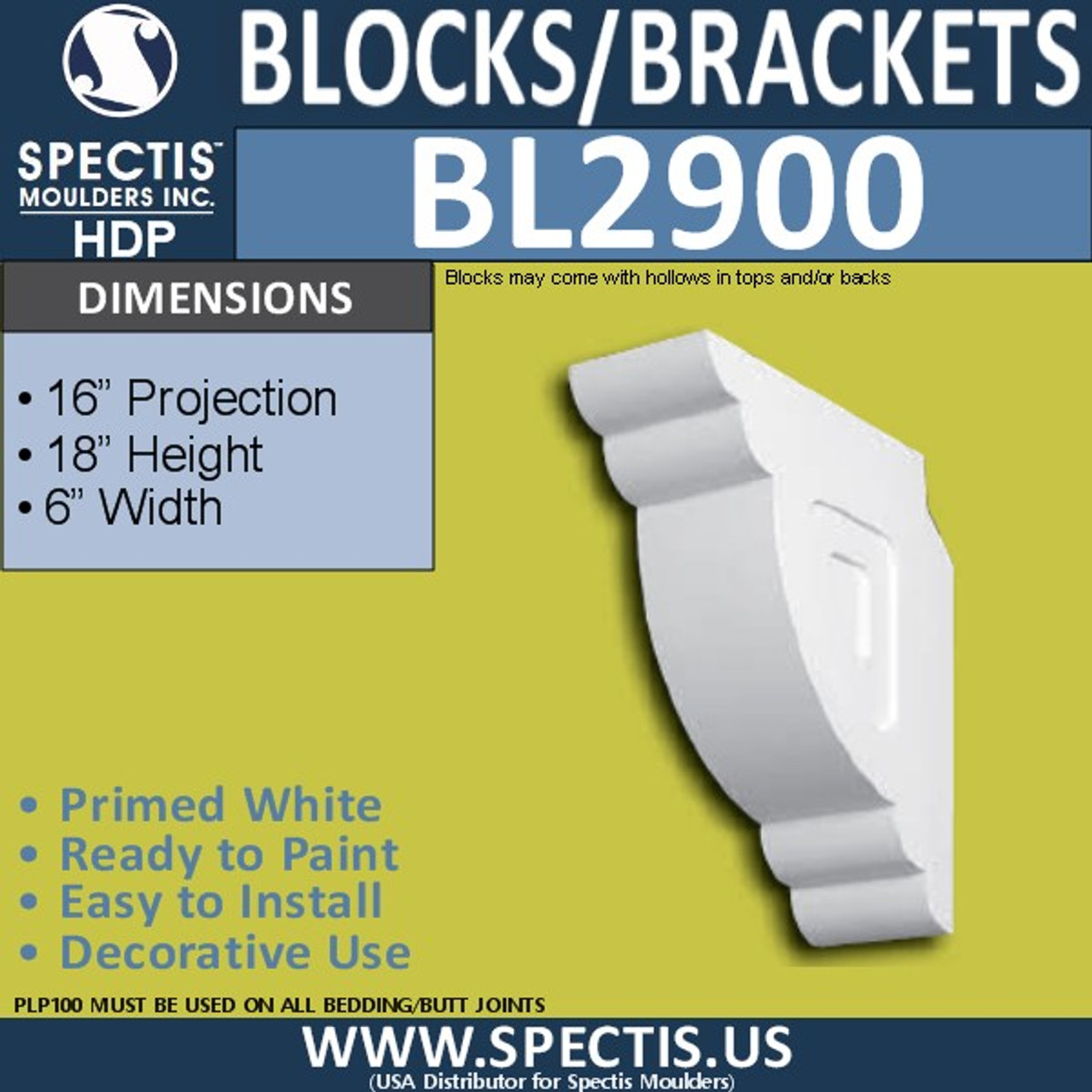 "BL2900 Eave Block or Bracket 6""W x 18""H x 16"" P"