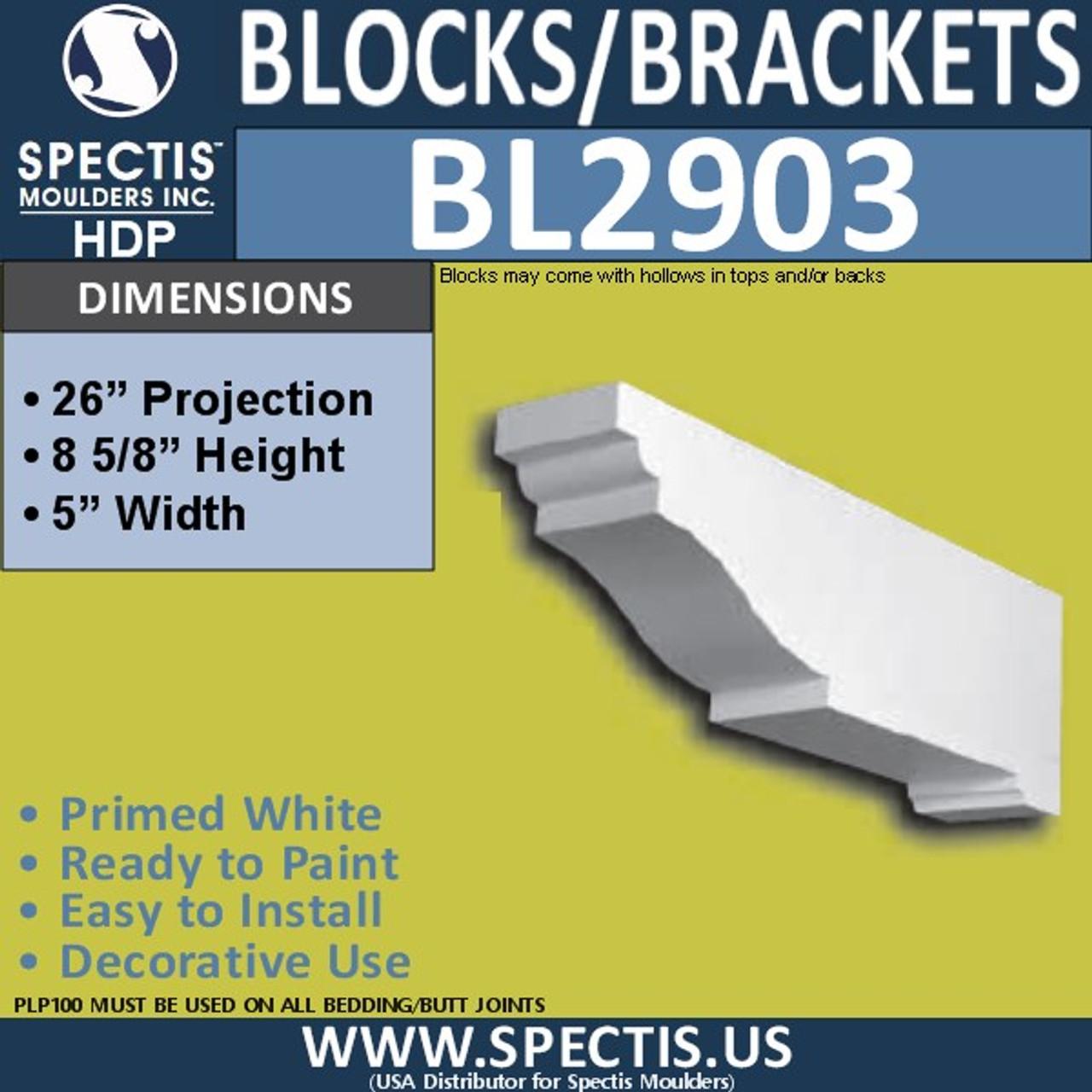 "BL2903 Eave Block or Bracket 5""W x 8.6""H x 26"" P"