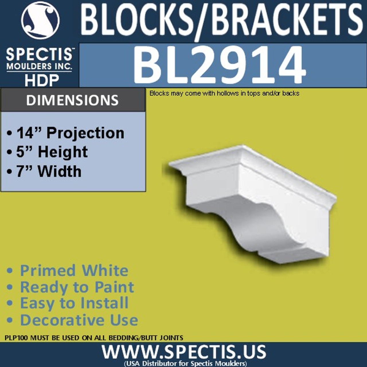 "BL2914 Eave Block or Bracket 7""W x 5""H x 14"" P"