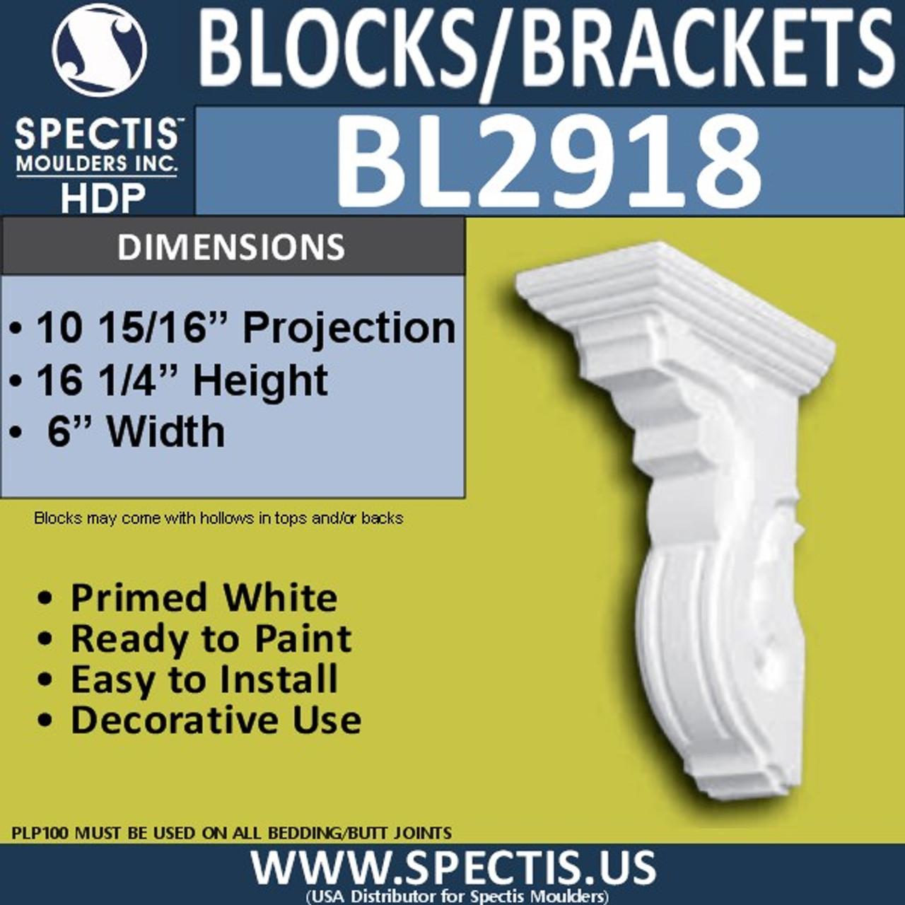"BL2918 Eave Block or Bracket 6""W x 16.25""H x 11"" P"