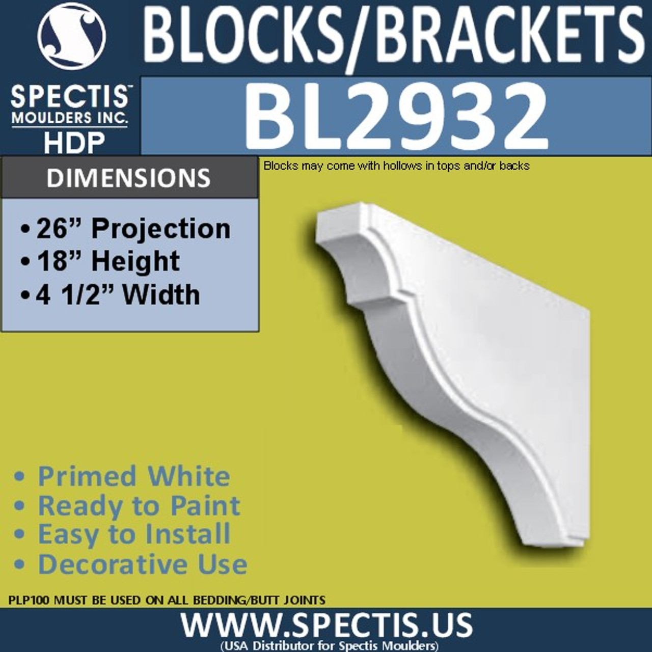 "BL2932 Eave Block or Bracket 4.5""W x 26""H x 18"" P"