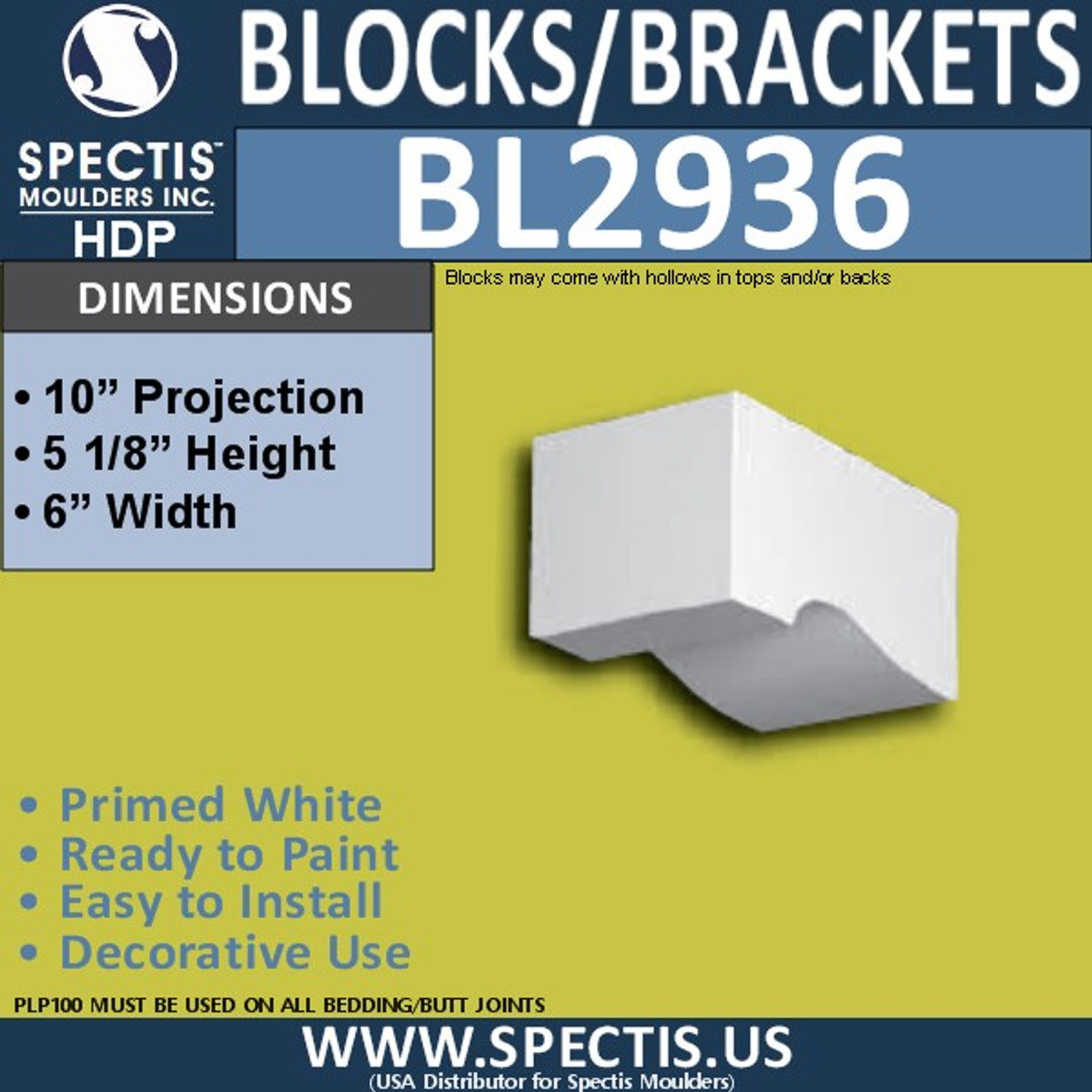 "BL2936 Eave Block or Bracket 6""W x 5.2""H x 10"" P"