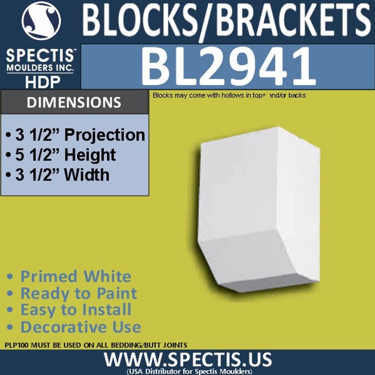 "BL2941 Eave Block or Bracket 3.5""W x 5.5""H x 3.5"" P"