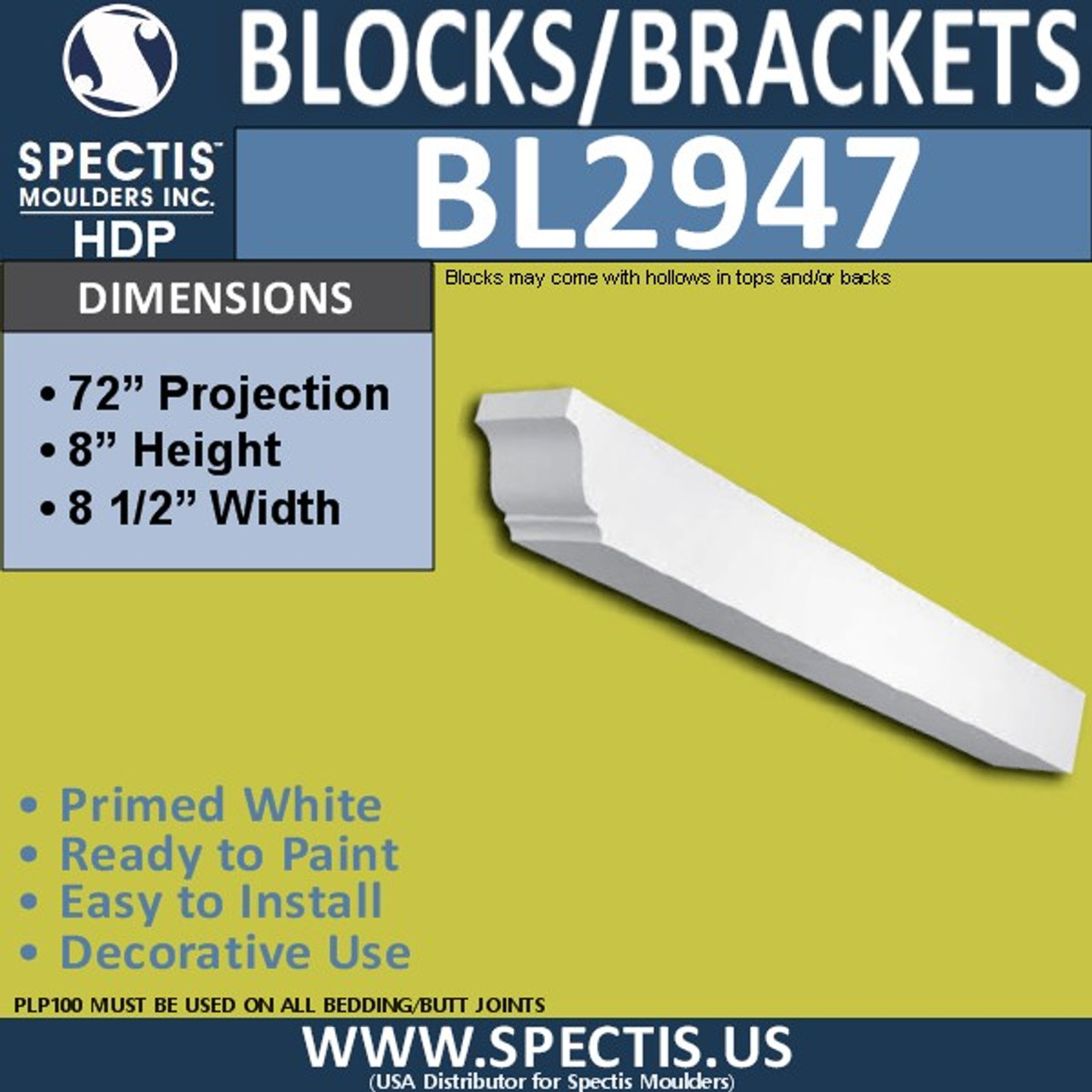 "BL2947 Eave Block or Bracket 8.5""W x 8""H x 72"" P"