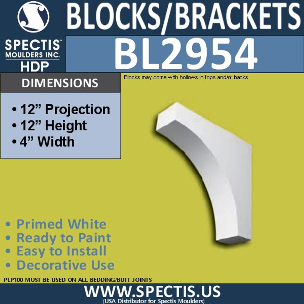 "BL2954 Eave Block or Bracket 4""W x 12""H x 12"" P"